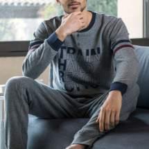 Lotto LP6023 férfi pamut pizsama - szürke