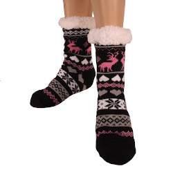 HDI rénszarvasos női mamusz zokni - fekete