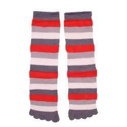 HDI csíkos pamut lábtyű - szürke és piros
