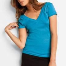 Bella 8410 női V-nyakú pamut rövid ujjú póló
