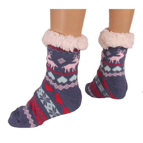 HDI rénszarvasos női mamusz zokni - kék