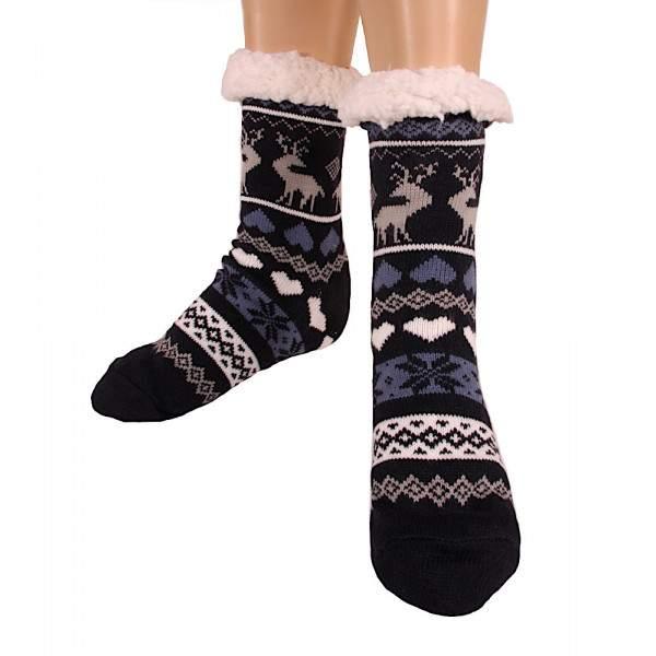 HDI rénszarvasos női mamusz zokni - sötétkék
