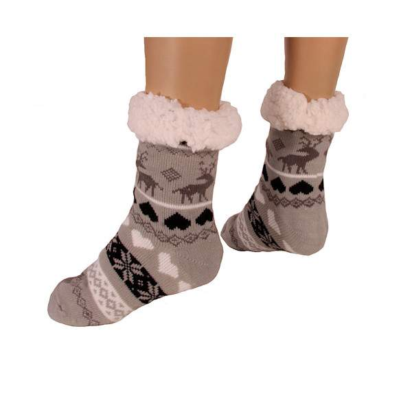 HDI rénszarvasos női mamusz zokni - világosszürke