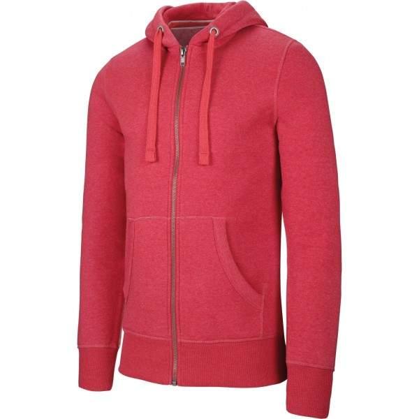 Kariban K460 Melange férfi cipzáros kapucnis pulóver